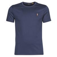 Textiel Heren T-shirts korte mouwen Polo Ralph Lauren T-SHIRT AJUSTE COL ROND EN PIMA COTON LOGO PONY PLAYER MULTICOLO Blauw