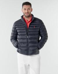 Textiel Heren Dons gevoerde jassen Polo Ralph Lauren BLOUSON DOUDOUNE EARTH POLO EN NYLON RECYCLE ET PRIMALOFT LOGO P Marine