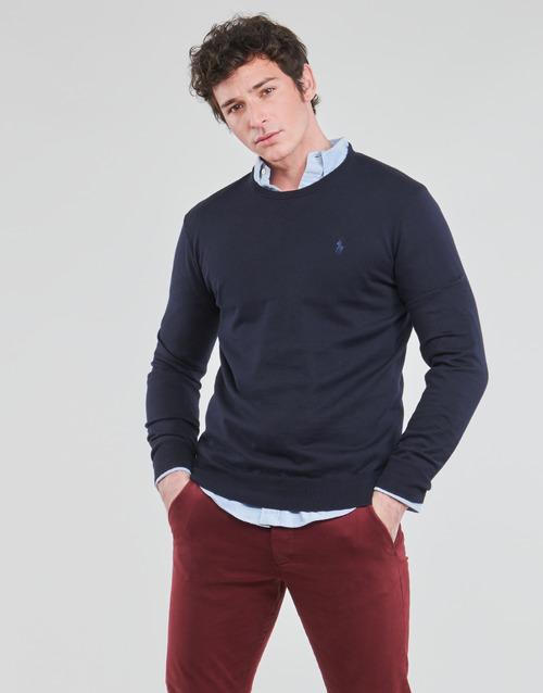Textiel Heren Truien Polo Ralph Lauren PULL COL ROND AJUSTE EN COTON PIMA LOGO PONY PLAYER Blauw