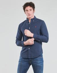 Textiel Heren Overhemden lange mouwen Polo Ralph Lauren CHEMISE CINTREE SLIM FIT EN OXFORD LEGER TYPE CHINO COL BOUTONNE Marine