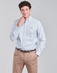 Textiel Heren Overhemden lange mouwen Polo Ralph Lauren CHEMISE AJUSTEE EN OXFORD COL BOUTONNE  LOGO PONY PLAYER MULTICO Blauw / Wit