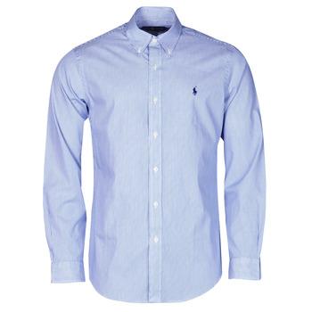 Textiel Heren Overhemden lange mouwen Polo Ralph Lauren CHEMISE AJUSTEE EN POPLINE DE COTON COL BOUTONNE  LOGO PONY PLAY Blauw / Wit