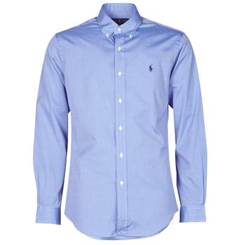 Textiel Heren Overhemden lange mouwen Polo Ralph Lauren CHEMISE AJUSTEE EN POPLINE DE COTON COL BOUTONNE  LOGO PONY PLAY Blauw