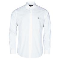 Textiel Heren Overhemden lange mouwen Polo Ralph Lauren CHEMISE AJUSTEE EN POPLINE DE COTON COL BOUTONNE  LOGO PONY PLAY Wit