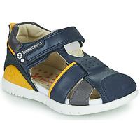Schoenen Jongens Sandalen / Open schoenen Biomecanics 212187 Marine / Geel
