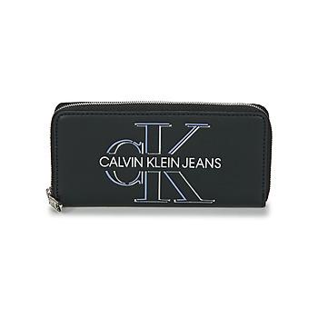 Tassen Dames Portefeuilles Calvin Klein Jeans ZIP AROUND GLOW Zwart