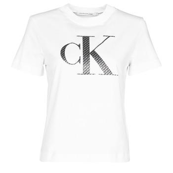 Textiel Dames T-shirts korte mouwen Calvin Klein Jeans SATIN BONDED FILLED CK TEE Wit