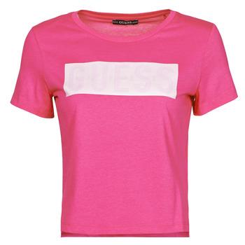 Textiel Dames T-shirts korte mouwen Guess SS CN ADRIA TEE Fuschia