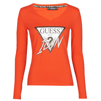 Textiel Dames T-shirts met lange mouwen Guess LS VN ICON TEE Rood