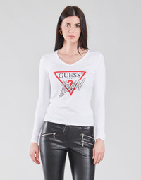 Textiel Dames T-shirts met lange mouwen Guess LS VN ICON TEE Wit