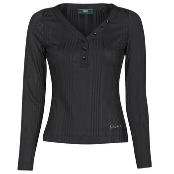 Textiel Dames T-shirts met lange mouwen Guess LS URSULA TOP Zwart