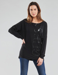 Textiel Dames T-shirts met lange mouwen Guess LS KAROLINA TEE Zwart