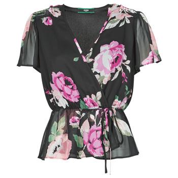 Textiel Dames Tops / Blousjes Guess SS NEREA TOP Zwart / Multicolour