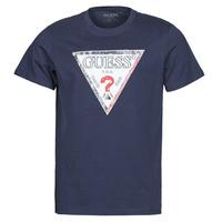 Textiel Heren T-shirts korte mouwen Guess TRIESLEY CN SS TEE Marine