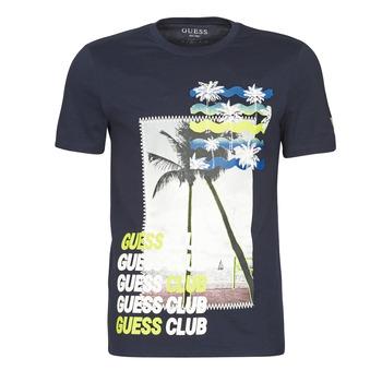 Textiel Heren T-shirts korte mouwen Guess GUESS CLUB CN SS TEE Marine