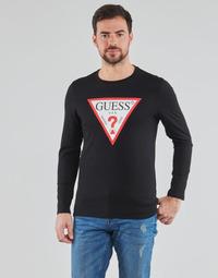 Textiel Heren T-shirts met lange mouwen Guess CN LS ORIGINAL LOGO TEE Zwart