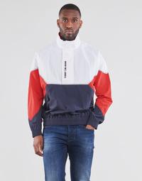 Textiel Heren Wind jackets Tommy Jeans TJM LIGHTWEIGHT POPOVER JACKET Wit / Rood / Marine