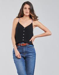 Textiel Dames Tops / Blousjes Tommy Jeans TJW CAMI TOP BUTTON THRU Zwart