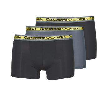 Ondergoed Heren Boxershorts Athena OUTDOOR RECYCLEE X3 Zwart / Grijs / Zwart