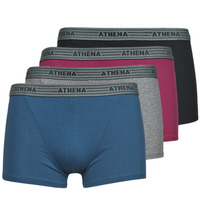 Ondergoed Heren Boxershorts Athena BASIC COTON  X4 Grijs / Bordeaux / Blauw / Zwart