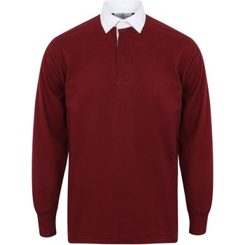 Textiel Heren T-shirts met lange mouwen Front Row FR100 Diep Bourgondië/Wit