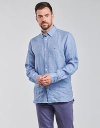 Textiel Heren Overhemden lange mouwen Tommy Hilfiger PIGMENT DYED LINEN SHIRT Blauw