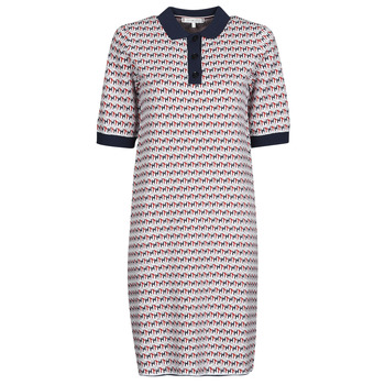 Textiel Dames Korte jurken Tommy Hilfiger TH CUBE SHIFT SHORT DRESS SS Wit / Rood / Marine