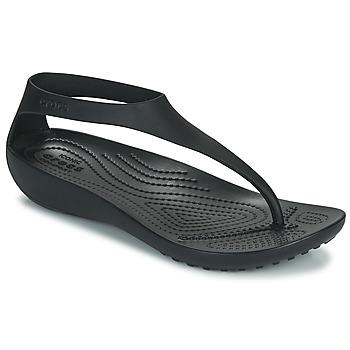Schoenen Dames Slippers Crocs CROCS SERENA FLIP W Zwart