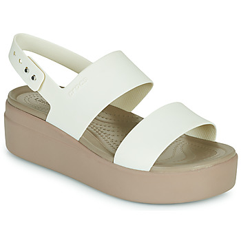 Schoenen Dames Sandalen / Open schoenen Crocs CROCS BROOKLYN LOW WEDGE W Wit / Taupe