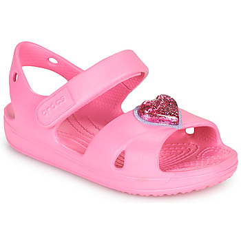 Schoenen Meisjes Sandalen / Open schoenen Crocs CLASSICCROSSSTRAPCHARMSANDAL T Roze