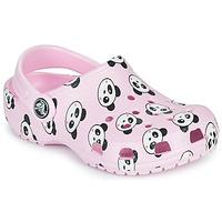 Schoenen Meisjes Klompen Crocs CLASSIC PANDA PRINT CLOG K Roze / Panda