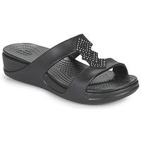 Schoenen Dames Leren slippers Crocs CROCSMONTEREYSHIMMERSLPONWDG W Zwart