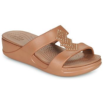 Schoenen Dames Leren slippers Crocs CROCSMONTEREYSHIMMERSLPONWDG W Brons