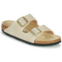 Schoenen Dames Leren slippers Birkenstock ARIZONA Goud / Wit