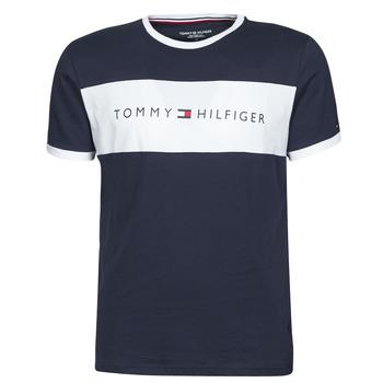 Textiel Heren T-shirts korte mouwen Tommy Hilfiger CN SS TEE LOGO FLAG Marine / Wit