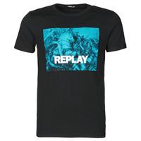 Textiel Heren T-shirts korte mouwen Replay M3412-2660 Zwart / Blauw