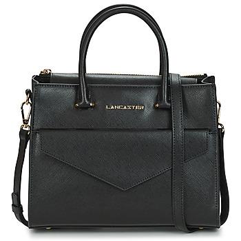 Tassen Dames Handtassen kort hengsel LANCASTER SAFFIANO SIGNATURE 10 Zwart