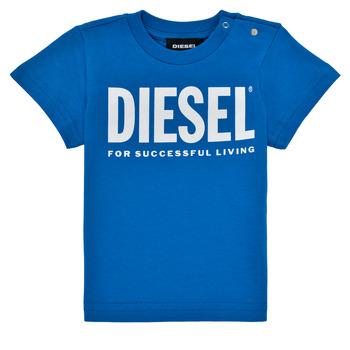 Textiel Jongens T-shirts korte mouwen Diesel TJUSTLOGOB Blauw