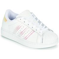 Schoenen Meisjes Lage sneakers adidas Originals SUPERSTAR J Wit / Iridescent