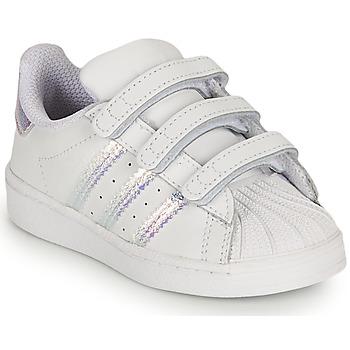 Schoenen Meisjes Lage sneakers adidas Originals SUPERSTAR CF I Wit / Iridescent