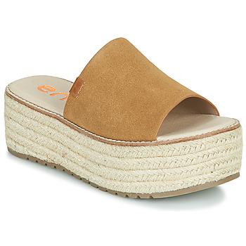 Schoenen Dames Leren slippers Emmshu NELIE Cognac