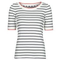 Textiel Dames T-shirts korte mouwen Esprit RAYURES COL ROUGE Wit