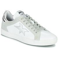 Schoenen Dames Lage sneakers Meline  Wit / Zilver / Zebra