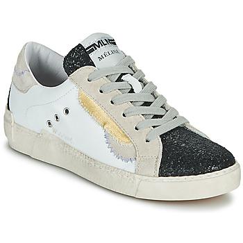 Schoenen Dames Lage sneakers Meline NKC139 Wit / Glitter / Zwart