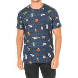 Textiel Heren T-shirts korte mouwen John Frank T-shirt à manches courtes Blauw