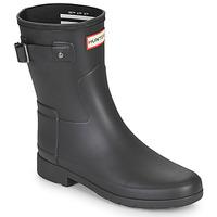 Schoenen Dames Regenlaarzen Hunter ORIGINAL REFINED SHORT Zwart