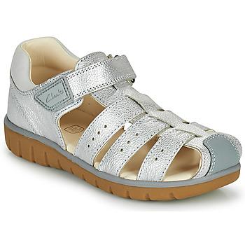 Schoenen Meisjes Sandalen / Open schoenen Clarks ROAM BAY K Zilver