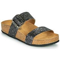 Schoenen Dames Leren slippers Plakton ROCK Zwart / Pailleté