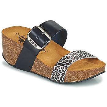 Schoenen Dames Leren slippers Plakton SO ROCK Blauw / Leopard