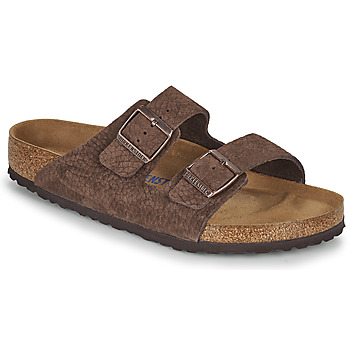 Schoenen Heren Leren slippers Birkenstock ARIZONA SFB Brown